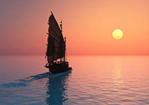 Fotos Segeln Morgendämmerung und Sonnenuntergang Meer Sonne