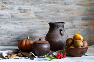 Images Still-life Pears Pumpkin Jug container Spoon
