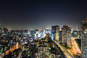 Фотография Токио Япония Здания Ночные Мегаполиса Города