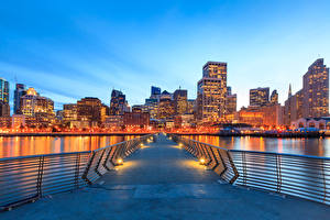 Fotos USA Abend Haus Brücken San Francisco Straßenlaterne Bucht