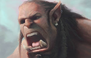 Desktop wallpapers Warcraft 2016 Orc Canine tooth fangs Face Scream Movies