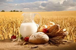 Bilder Weizen Milch Brot Acker Kanne Lebensmittel