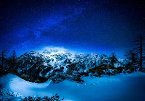 Hintergrundbilder Winter Himmel Stern Gebirge Schnee Nacht Bäume Natur