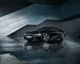 桌面壁纸,,BMW,黑色,倒影,2017 i8 Frozen Black Edition,汽车