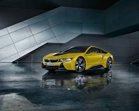 桌面壁纸,,BMW,黄色,倒影,2017 i8  Frozen Yellow Edition,汽车