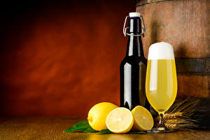 Images Beer Lemons Stemware Bottles Foam Food