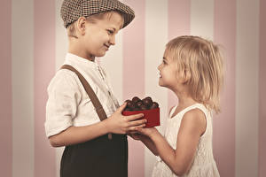 Wallpaper Candy Chocolate Boys Little girls Smile Two Children