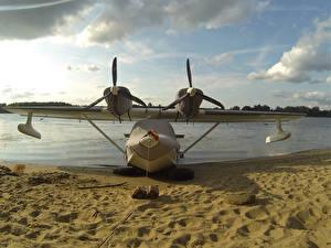 Hintergrundbilder Küste Flugzeuge Sand Wasserflugzeug