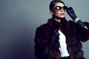 Pictures Colored background Brown haired Glasses Glove Fur coat Girls