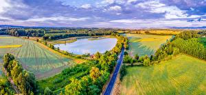 Picture Czech Republic Landscape photography Fields Pond Roads Moravsky Pisek Nature
