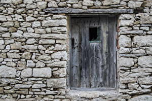 Wallpaper Door From wood Made of stone Walls