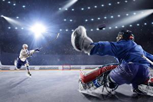Images Hockey Men Two Rays of light Uniform Ice rink Sport