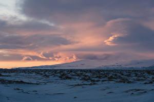 Bilder Island Himmel Winter Wolke Schnee Natur