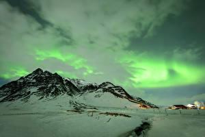 Hintergrundbilder Island Winter Gebirge Himmel Schnee Nordlicht Wolke Natur