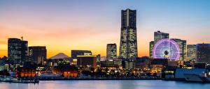 Fotos Japan Gebäude Abend Wolkenkratzer Schiffsanleger Riesenrad Bucht Yokohama Städte