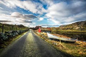 Fotos Norwegen Wege Boot Himmel Haus Wolke Zaun Nymark Rogaland Natur