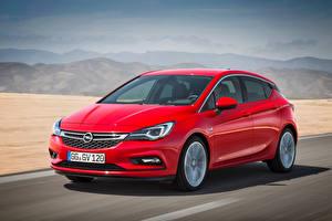 Fotos Opel Rot Fährt Metallisch Astra, 2015 automobil