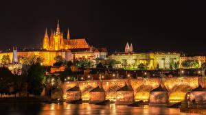 Wallpaper Prague Czech Republic Building River Bridges Charles Bridge Street lights Night Cities
