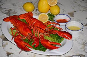 Image Seafoods Crayfish Lemons Two Plate Food