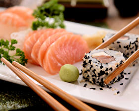 Pictures Seafoods Fish - Food Sushi Chopsticks Food