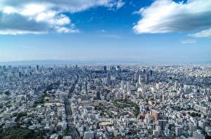 壁纸、、空、住宅、日本、メガロポリス、上から、Osaka、都市