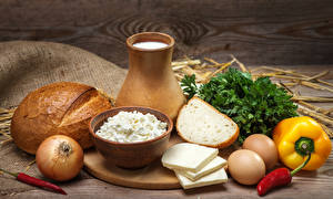 Wallpaper Still-life Milk Bread Cheese Bell pepper Onion Quark curd cottage farmer cheese Jug container Egg Food