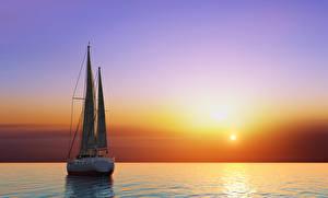 Hintergrundbilder Sonnenaufgänge und Sonnenuntergänge Meer Segeln Yacht Horizont