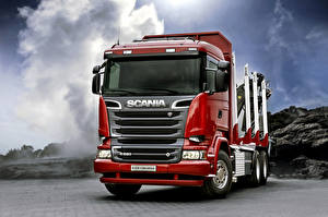 Picture Trucks Scania Front Red R520, 2013, 6x4 automobile