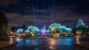 壁纸、、アメリカ合衆国、ディズニーランド、公園、道、カリフォルニア州、アナハイム、デザイン、夜、街灯、都市