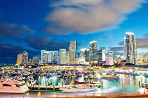 Images USA Building Marinas Sailing Yacht Evening Sky Miami Cove Clouds Cities