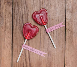 Wallpaper Valentine's Day Sweets Lollipop Wood planks Heart Two English Food