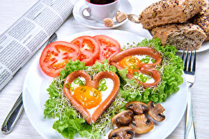 Images Vegetables Tomatoes Mushrooms Plate Heart Fried egg Food