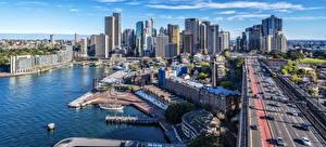 Bilder Australien Haus Wolkenkratzer Bootssteg Wege Sydney Kleine Bucht Städte