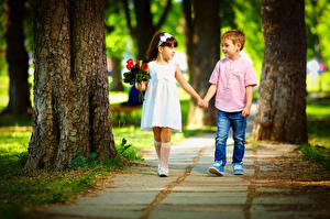 Images Bouquets Love Little girls Boys Two Trunk tree Dress Jeans Children