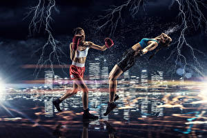 Wallpaper Boxing Two Lightning Uniform Legs To beat Sport Girls