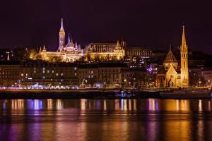 Bilder Budapest Ungarn Haus Flusse Nacht Städte