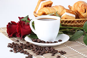 Pictures Coffee Roses Breakfast Cup Grain Food