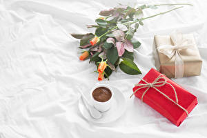 Images Coffee Roses Holidays Cup Present Food