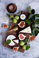 Pictures Common fig Pears Cheese Cutting board Foliage Food