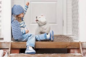 Fotos Hunde Kleine Mädchen Bologneser Mütze Sitzt Kinder