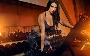 Bilder Fitness Model Hantel Trainieren Mädchens Sport