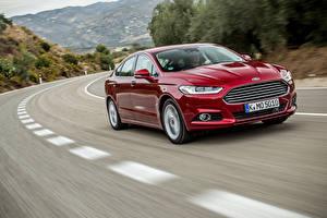 Fotos Ford Rot Fahrendes Metallisch 2014 Mondeo Autos
