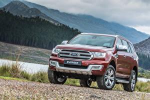 Hintergrundbilder Ford Rot Vorne Everest, 2015 Autos