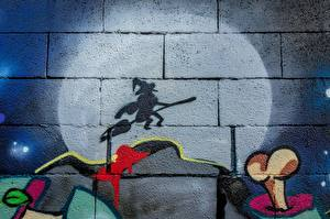 Wallpapers Graffiti Witch Shadow Walls