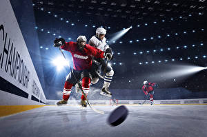 Pictures Hockey Men Ice rink Rays of light Uniform