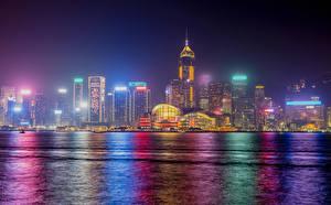 Fotos Hongkong China Haus Küste Nacht Städte