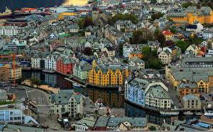 Bilder Gebäude Norwegen Von oben Aksla Alesund