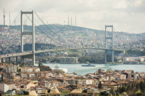 Bakgrundsbilder på skrivbordet Istanbul Turkiet Byggnader Floder Bro