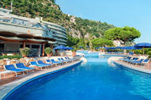 Photo Italy Spa town Sorrento Pools Sunlounger Cities
