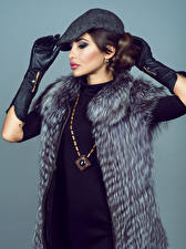 Photo Jewelry Colored background Brown haired Fur coat Glove female